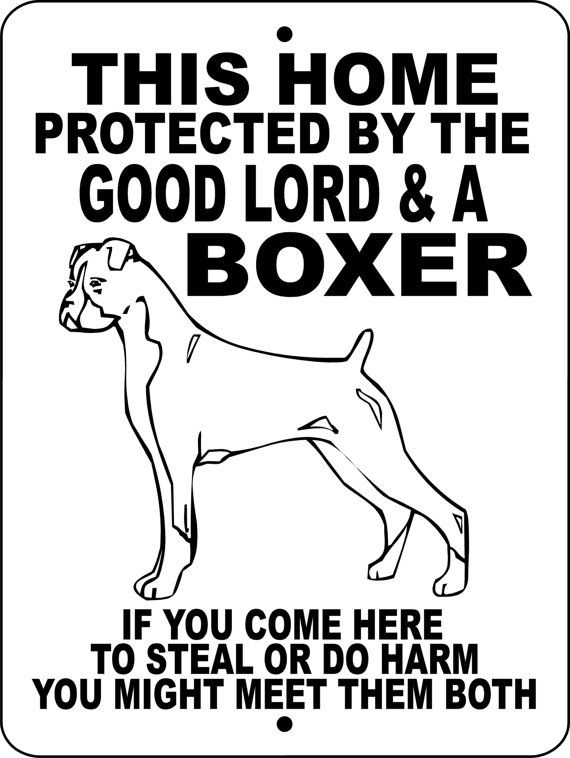 "BOXER Dog Sign 9""x12"" ""ALUMINUM"" glbox2 on Etsy, $12.00. But with German shepherd for my parents farm"