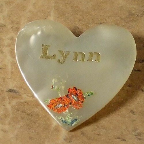 Lynn name vintage heart pin 1960s | vintage plastic jewellery | Jewels & Finery UK