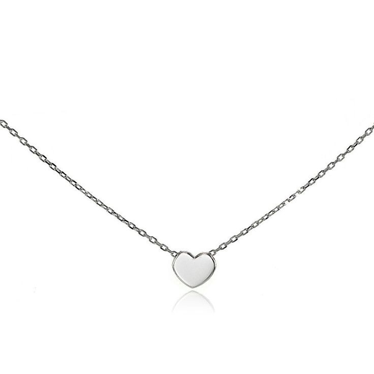 Sterling Silver Polished Heart Choker Necklace