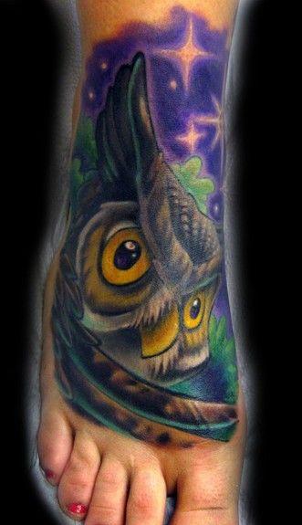 Owl foot tattoo by Tim Senecal of Easthampton, MA