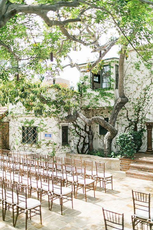 Spring Wedding at the Villa at San Juan Capistrano, Ceremony Courtyard | Brides.com