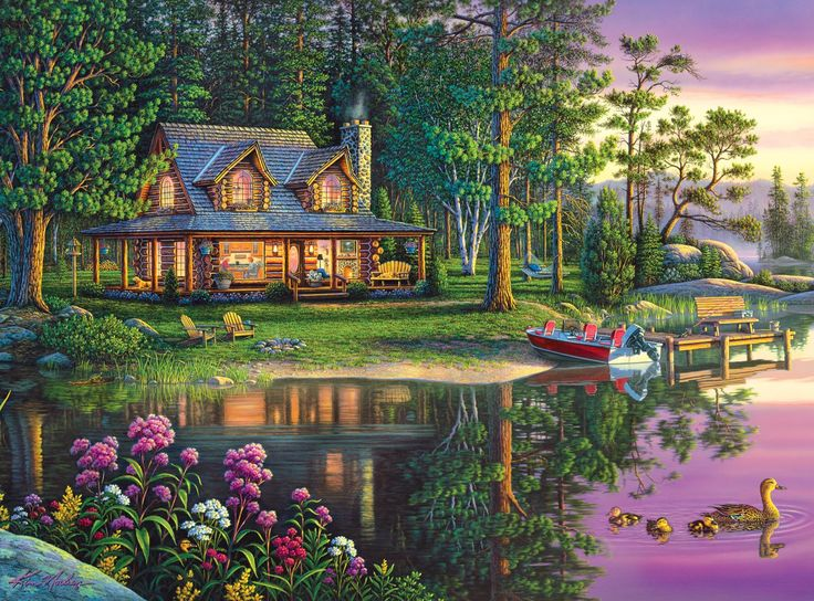 """LOVE Kim Norlien jigsaw puzzles! They are truly inspirational and breathtaking! Working on one of these Kim Norlien jigsaw puzzles for adults is an amazing way to really enjoy the artwork of this famous artist that is known as """"the painter of peace and tranquility""""."""