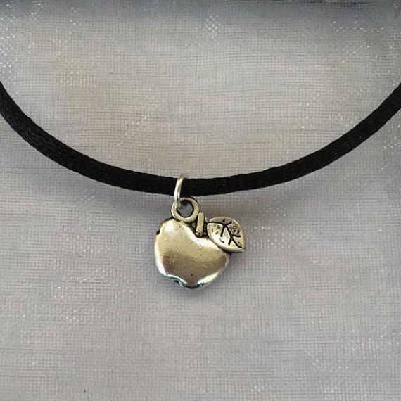90s Choker  Silver Apple Choker Necklace on Black Cord