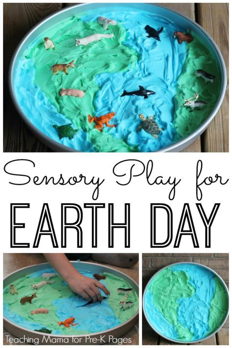 Sensory Play for Earth Day. Your Preschool Kids will Enjoy Learning about Earth Day, plus animals and their habitats with this fun sensory activity! - Pre-K Pages