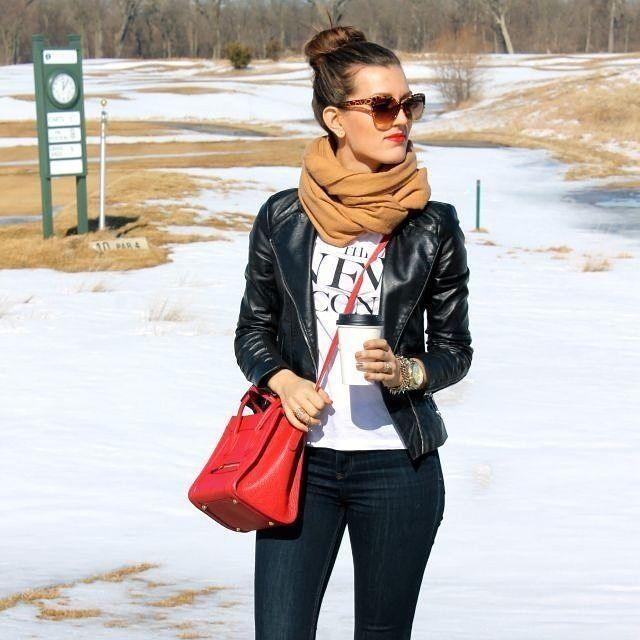"810 Likes, 8 Comments - Lookastic (@lookastic) on Instagram: ""👍or👎? Get this look: lookastic.com/6177 #redbag #leatherjacket"""