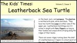 front page of Kids' Times for Leatherback Sea Turtle
