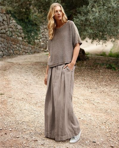 Poetry - Linen Maxi Skirt - Summers essential maxi skirt in our soft, garment-dyed linen. Cut with panels and two inverted pleats to create a relaxed A-line silhouette. Clean and unfussy lines with a deep waistband and two side pockets. 100% Linen
