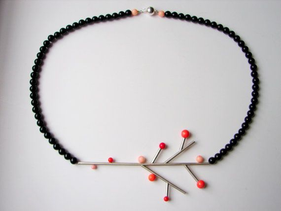Twiggy necklace, made of sterling silver, onix and coral, by Orsolya Kecskés