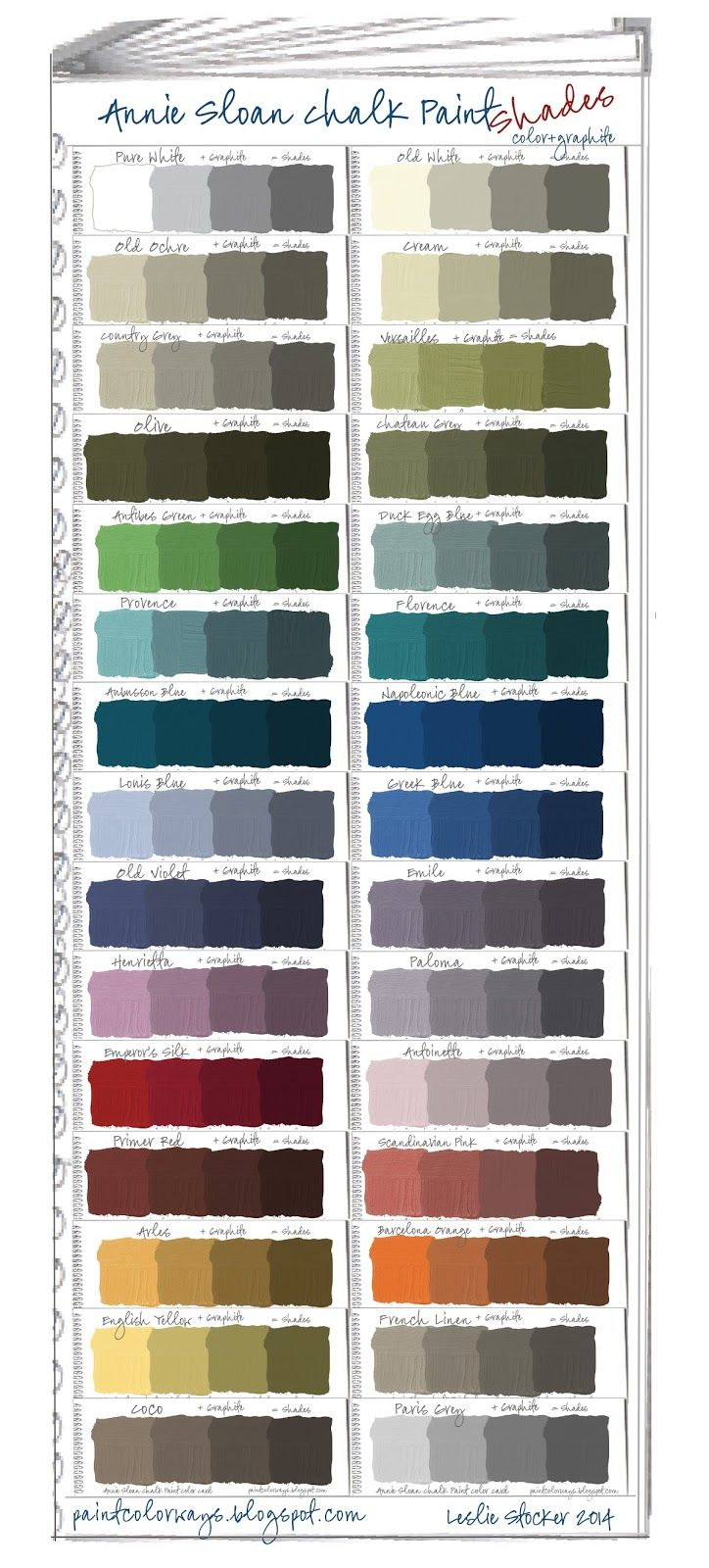 Annie Sloan Chalk Paint Swatch Book. Paint Colors+ Shades   Shades = Color+ Graphite     To see my otherswatch books for Annie ...