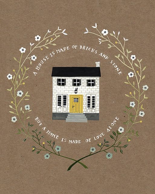 A House Is Made of Bricks Quote - Rebekka Seale House Illustration