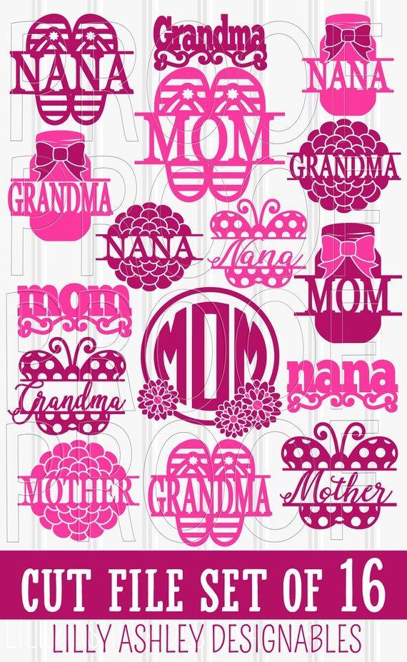 Arquivo SVG Conjunto de 16 formatos de arquivo-svg png jpg! dia das mães svg mãe svg mãe svg mason jar svg chinelos svg floral svg   – Cricut design ideas