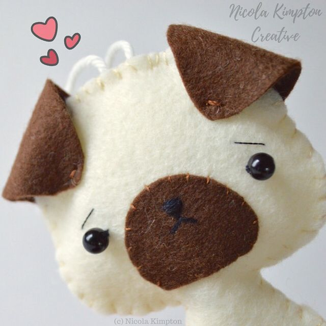 """12 Likes, 1 Comments - Art & Collectible Art Dolls 🎀 (@nicolakimpton) on Instagram: """"This cute little pug plushie says Happy Friday! Aw 💕🐶✨ 💝If you want one of these cute wool blend…"""""""