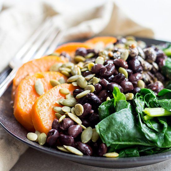A simple combo of black beans, sweet potato and spinach with tahini dressing creates a nutrient dense and well balanced protein bowl.