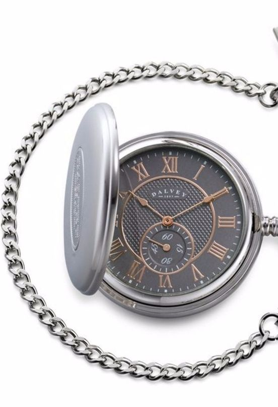 This Dalvey stainless steel pocket watch has a grey face with stunning rose gold detailing.
