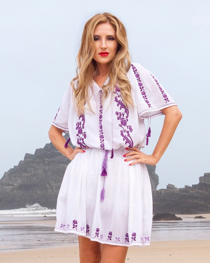 HANDMADE EMBROIDERED DRESS - Purple Rose Motif