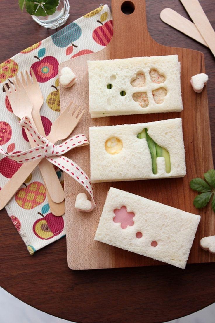 可愛い♪型抜きサンドイッチ。 by 栁川かおり / いつものサンドイッチにちょっとひと手間。あっとう間に可愛く変身。お子さん向けパーティーやお弁当にもおすすめです。 / Nadia