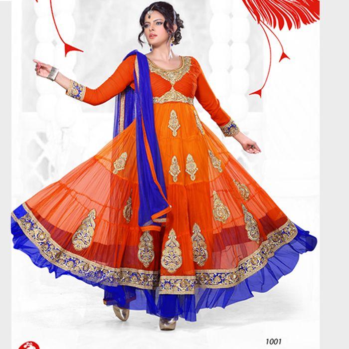Pure georgette semi stitched orange #anarkalisuit buy online from #craftshopsindia