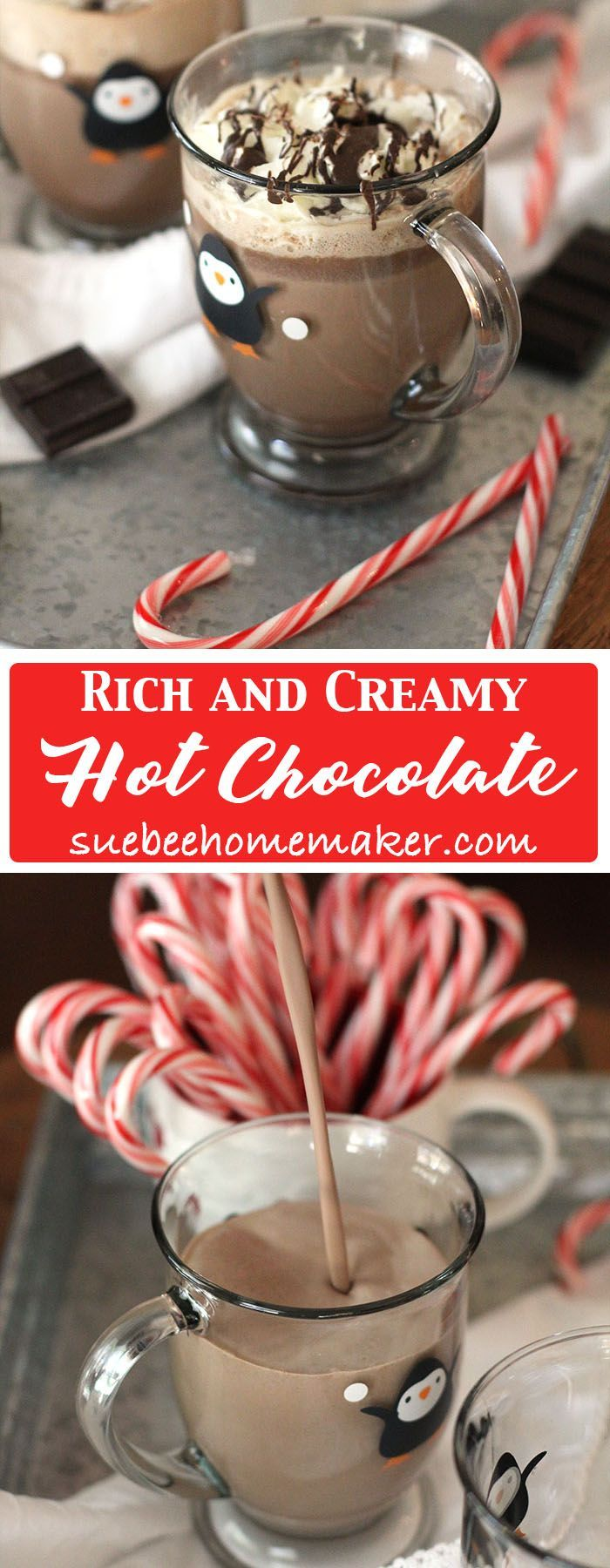Rich and Creamy Hot Chocolate is the perfect indulgent drink for the holidays. Combine cocoa powder, sugar, milk, cream, vanilla, and baking bars! | suebeehomemaker.com