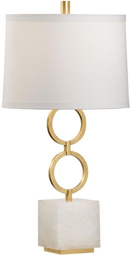 Table Lamp CHELSEA HOUSE 1-Light Gold Leaf White Agate Iron Stone New 3- CH-3509