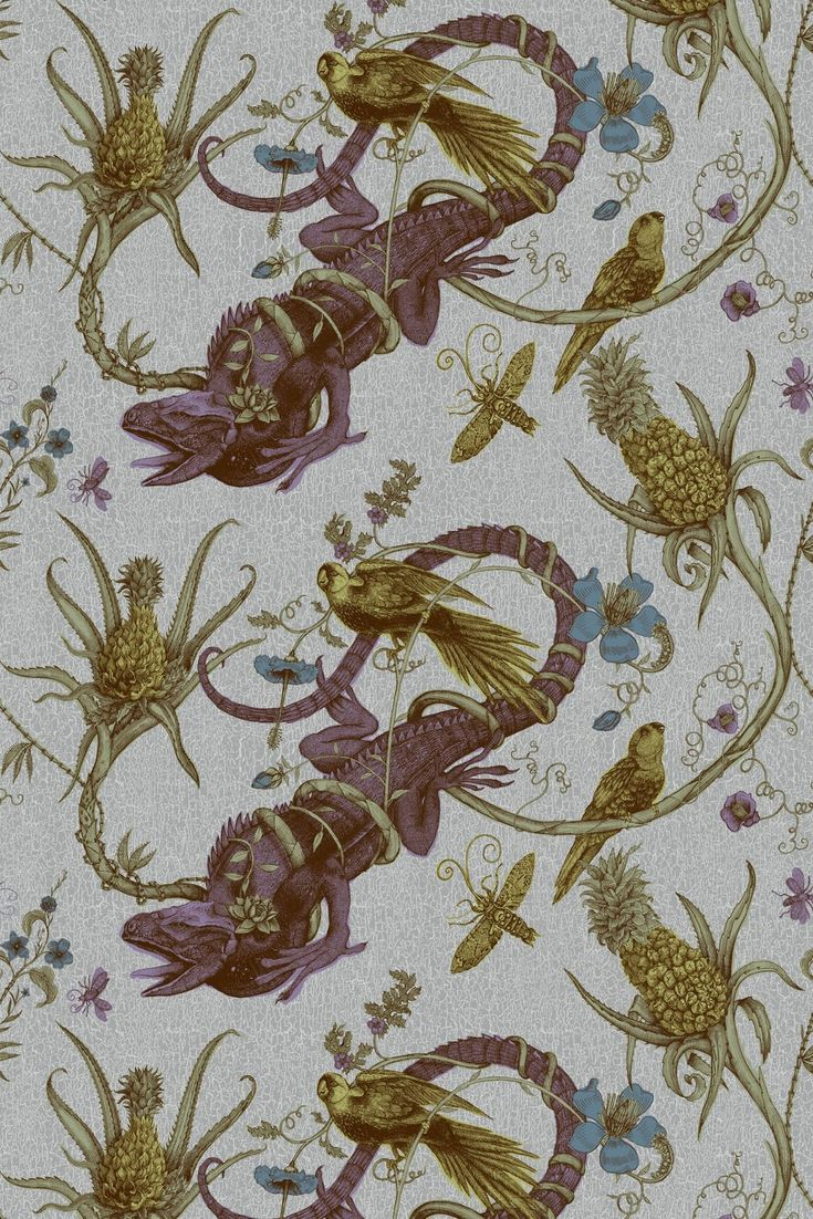 When Allison and her brother were younger they had a pet iguana named Dino. He wasn't nearly as chic as this wallpaper. But he would approve.  Timorous Beasties Wallcoverings - Iguana Solid Wallcovering