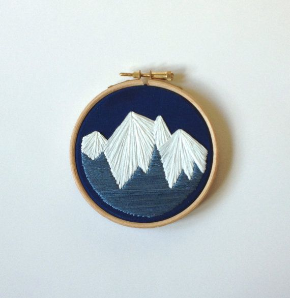 Geometric mountain embroidery hoop art 4 inch Navy wall decoration // Valentines gift // birthday gift // mountain lover