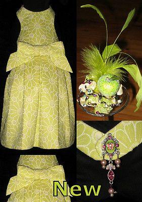 Apple Green Summer Dress & Fascinator - Fifi & Beau Designer Dog Clothes