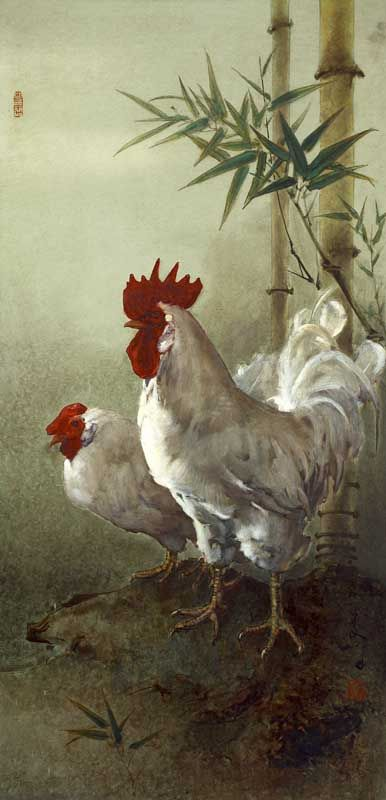 Lee Man Fong - A Pair of Chicken (sold for $ 67,943)