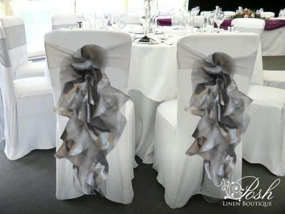 Silver Christmas Chair Sashes Christmas Chair Cover Sets Of