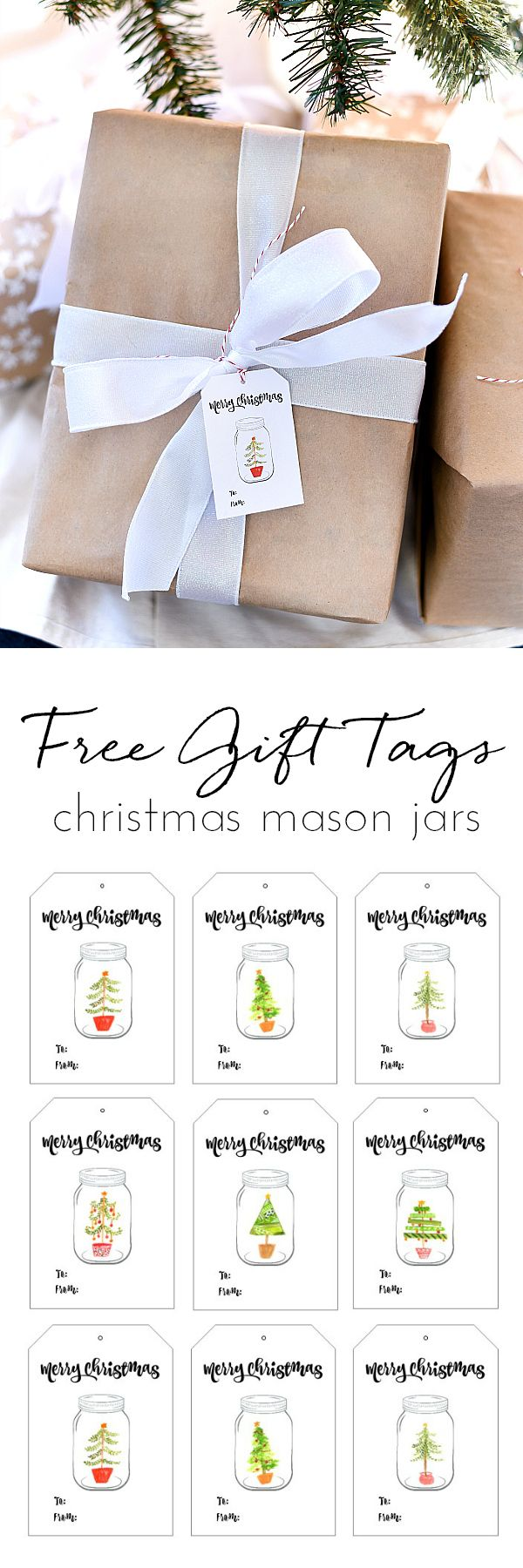 Free Printable Christmas Gift Tags - Mason Jar Christmas Gift Tags