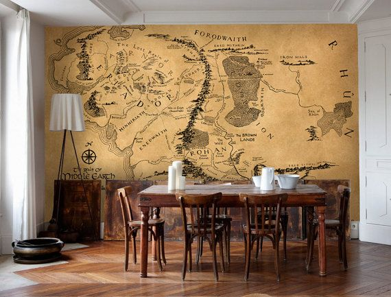 Wall decal of Middle Earth Vintage style wall map of Lord of the rings Large vinyl wallpaper, wall mural
