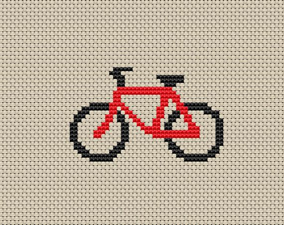 Cross Stitch Pattern, Red Bicycle, Instant Download, Digital PDF/JPG, Free Shipping