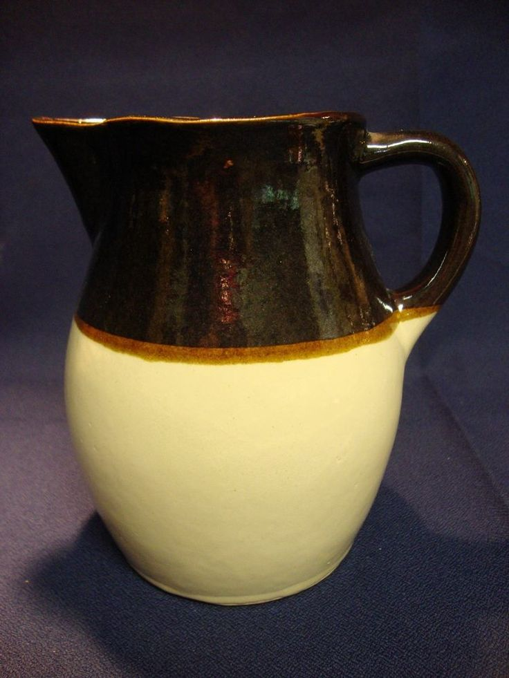 "RRP Co 6"" Two-tone Brown & Beige Stoneware Pitcher Roseville Ohio USA"