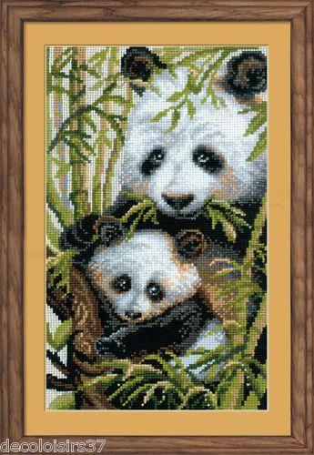 Riolis Broderie Point de Croix Compté Pandas - Cross Stitch Panda with young