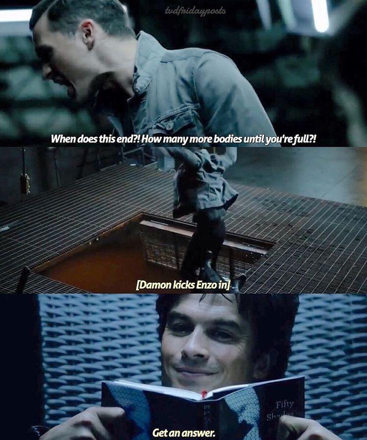 TVD season 8 sneak peek. Damon is reading Fifty Shades of Grey