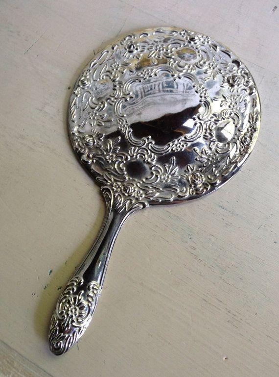 Vintage Silver Plated Vanity Hand Mirror Vanity