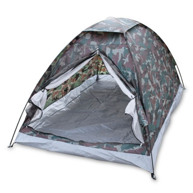 Outdoor Portable Camouflage Beach Tent Camping Tent For 2 Person Single Layer Polyester Fabric Tents Pu1000mm Carry Bag Travel Review Outdoor Tent Tent