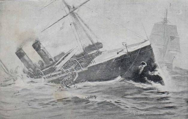 On July 4, 1898 shortly before 5 a.m., the French liner 'La Bourgogne' collided with the British sailing ship 'Cromartyshire' about 70 mi. south of Sable Island, Nova Scotia, during a dense fog. Most passengers were asleep in their compartments. As the ship started to list, the crew began to panic, rushing for lifeboats without assisting the passengers. 'La Bourgogne' sank just over half an hour, killing 549 people. Nearly 50% of the survivors were the crew.