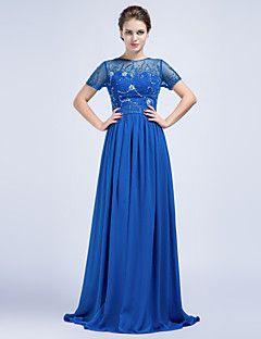 Dar / Sütun Takı Yer-uzunluğu Şifon Resmi Gece Elbise Kraliyet Mavisi