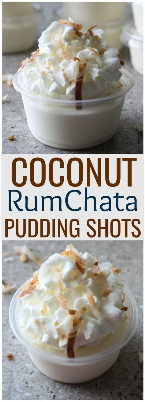 Coconut RumChata Pudding Shots. These creamy pudding shots with RumChata are perfect for parties that call for boozy dessert shots. #puddingshots #rumchata