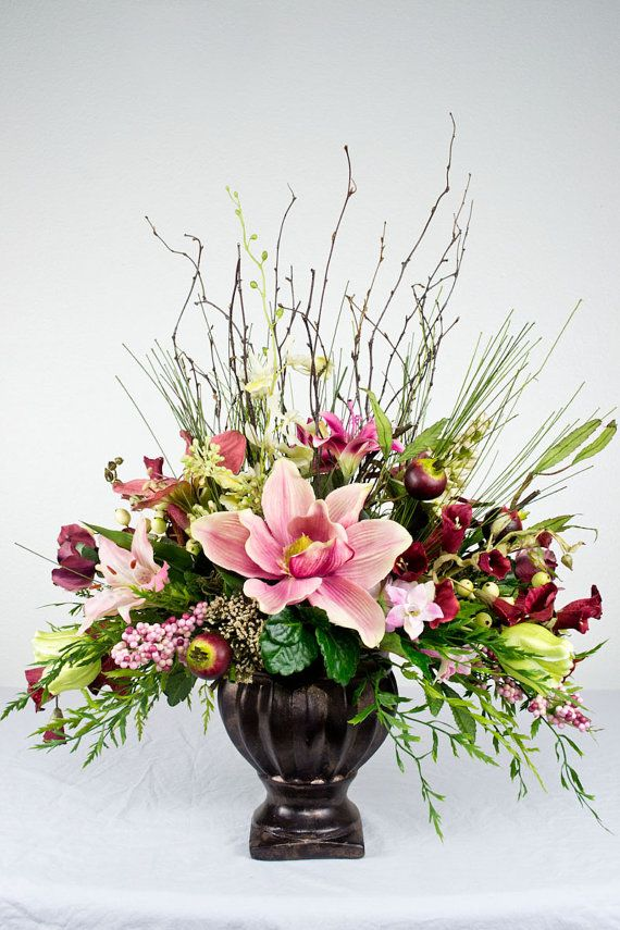 Pink Traditional Silk Floral Arrangement by EssentialSilkDecor, $93.99  #silkarrangements #pinkflower #essentialsilkdecor