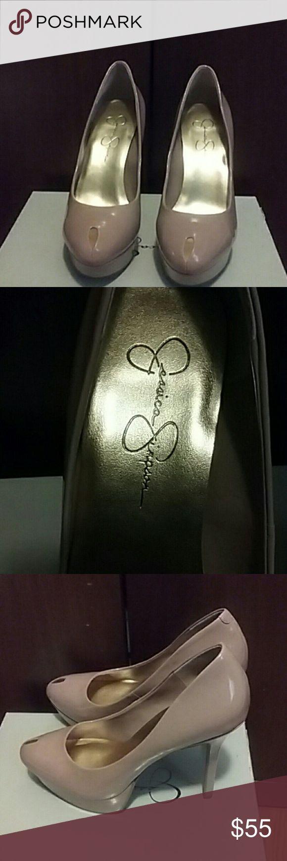 Jessica Simpson peep toe brook platform pump (Nude Patent leather nude peep toe platform pump Jessica Simpson Shoes Platforms