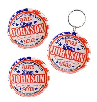"Amazon.com: Gary Johnson Libertarian Key-Chain + Magnet + Pin-Back Button Valxart, 2.25"": Clothing"