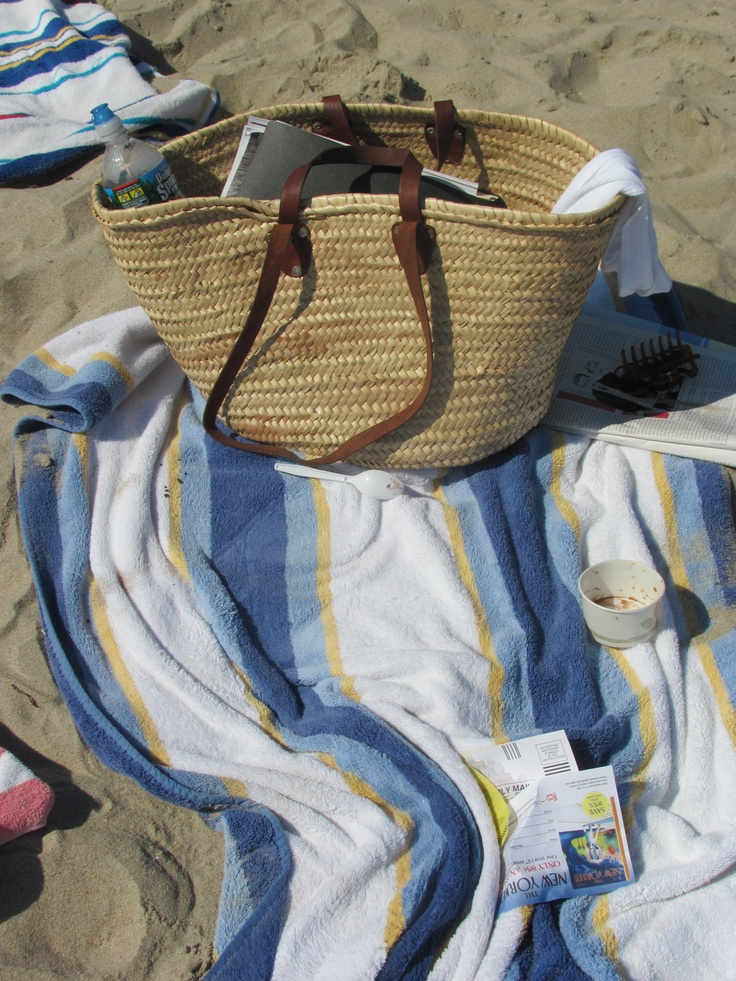 A still life of my favorite beach bag and towel reminds me of a lazy, fun, sandy afternoon