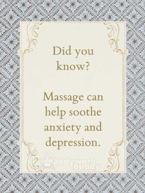 Did you know that massage helps anxiety and depression .  The magic of touch and connection. I love my work and my hands.
