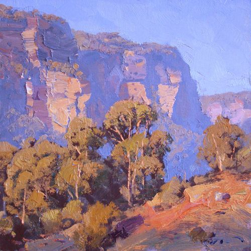 Sketch for Afternoon Sun Glen Davis 30x30cm (He really nailed those colors. Fantastic brushwork!) - Warwick Fuller