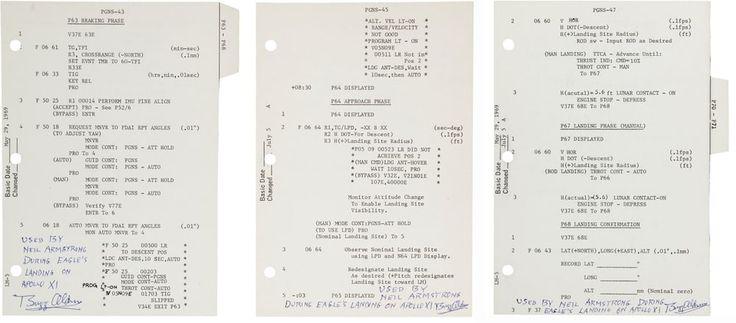 Луна посадки лунного модуля Аполлон - 11 Орел 20 июля 1969 года произошло событие , которое будет жить в памяти всех тех , кто был свидетелем его через телевидение - это , несомненно , один из величайших моментов человечества. Таким образом, продажа трех Landing Sequence страниц , проведенных на Eagle для этого знаменательного события всегда будет большой новостью. Аукционы Heritage продал эти страницы с подписанным письмом аутентичности от Базз Олдрин за $ 175000 20 мая 2016 года  (Credit…