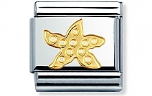 Nomination stainless steel and 18ct gold Starfish Classic Charm