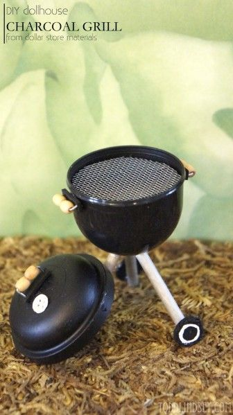 Tutorial: Dollhouse Charcoal Grill - You could also make Christmas Ornament for the family Chef. Just add tiny holly and berries!