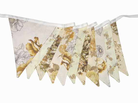 Vintage Bunting Retro Cafe / Brown and Mustard - Lace Floral Flags.  Shabby Chic Decoration.  HANDMADE .  Made in Australia