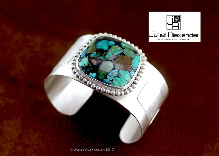 Natural Chinese Turquoise on Argentium Silver cuff.